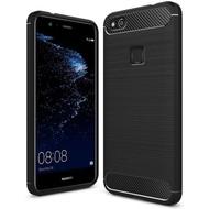 Zwart Carbon Geborsteld TPU Hoesje voor Huawei P10 Lite