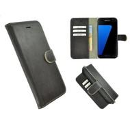 Pearlycase® Echt Leer Bookcase Samsung Galaxy S7 - Donkerbruin Effen