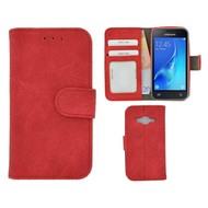 Rood Fashion Wallet Bookcase voor Samsung Galaxy J1 Mini Prime