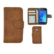 Bruin Fashion Wallet Bookcase voor Samsung Galaxy J1 Mini Prime