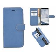 Pearlycase® Echt Leer Bookcase Samsung Galaxy S8 Plus - Matblauw Effen