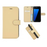 Pearlycase® Echt Leer Bookcase Samsung Galaxy S7 Edge - Ivoorkleur
