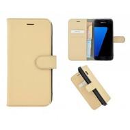 Pearlycase® Echt Leer Bookcase Samsung Galaxy S7 - Ivoorkleur