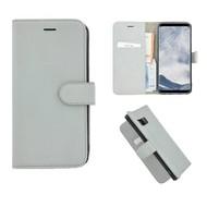 Pearlycase® Echt Leer Bookcase Samsung Galaxy S8 Plus - Witgroen
