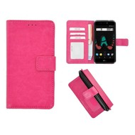 Roze Fashion Wallet Bookcase voor Wiko U Pulse Lite
