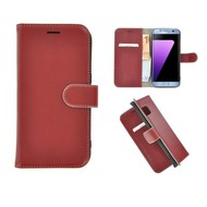 Pearlycase® Echt Leer Bookcase Samsung Galaxy S7 Edge - Donkerrood