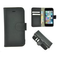 Pearlycase® iPhone 5(S)/SE Echt Leder Bookcase - Effen Zwart