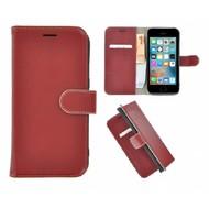 Pearlycase® iPhone 5(S)/SE Echt Leder Bookcase - Donkerrood