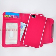 Apple iPhone 4S - Wallet / Book Case/Cover hoesje uitneembaar - Roze