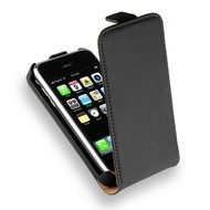 Apple iPhone 3G/3GS - Leder Flipcase Cover Hoesje Zwart