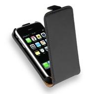 Apple iPhone 3G/3GS - Leder Flipcase Cover Hoesje Zwart