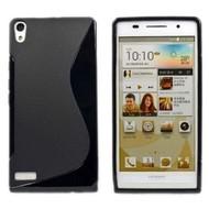 Huawei Ascend P6 - Tpu Siliconen Case Hoesje S-Style Zwart