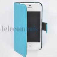 Apple iPhone 4/4S - Wallet Book Case / hoesje Slim -Turquoise