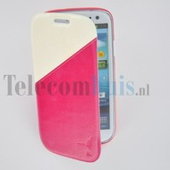 Samsung Galaxy S3 - Wallet Bookstyle Case Duocolor Roze-Wit
