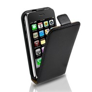 Apple iPhone 3G/GS - Lederlook Flipcase Cover Hoesje Zwart