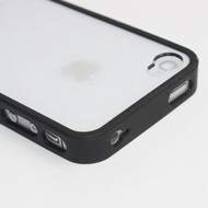 Apple iPhone 4/4S - TPU + PVC Hoesje / Case - Zwart