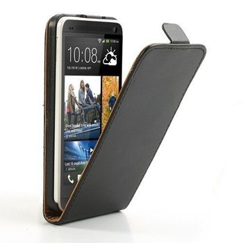 HTC One Mini - Flipcase Cover Hoesje Lederlook Zwart