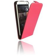 HTC One Mini - Flipcase Cover Hoesje Lederlook Roze