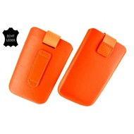 Samsung i9190 Galaxy S4 Mini - Echt Leder insteek hoesje L -Oranje