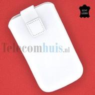 Samsung i9190 Galaxy S4 Mini - Echt Leder insteek hoesje L -Wit