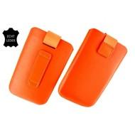 Samsung Galaxy S3 Mini - Insteekhoesje Cover Leder Oranje