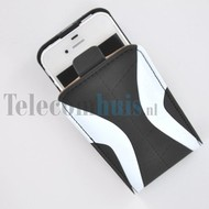 Apple iPhone 4/4S hoesje - Kunststof Flip case Cover - xZwart Wit