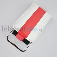 Apple iPhone 4/4S hoesje - Kunststof Flip case Cover - streep Wit Rood