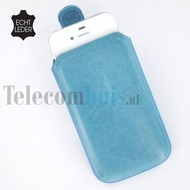 Apple iPhone 4/4S cover pouch - Echt Leder insteek hoesje met magneet - Turquoise