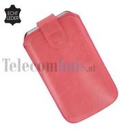 Apple iPhone 4/4S cover pouch - Echt Leder insteek hoesje met magneet - Roos