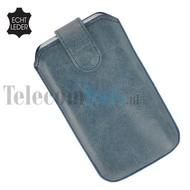 Apple iPhone 4/4S cover pouch - Echt Leder insteek hoesje met magneet - Blauw