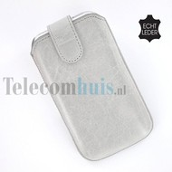 Apple iPhone 4/4S cover pouch - Echt Leder insteek hoesje met magneet - Grijs