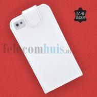 Apple Iphone 4/4S - Echt Leder Flip case P hoesje - Wit
