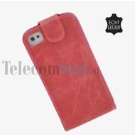 Apple Iphone 4/4S - Echt Leder Flip case P hoesje - Roos
