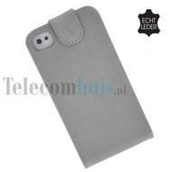 Apple Iphone 4/4S - Echt Leder Flip case P hoesje - Stone Grijs