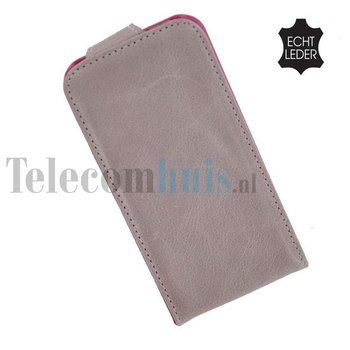 Apple iPhone 5 / 5S - Flip Case Cover Hoesje Echt Leder Oldroze