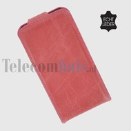 Apple iPhone 5 / 5S - Flip Case Cover Hoesje Echt Leder Roze