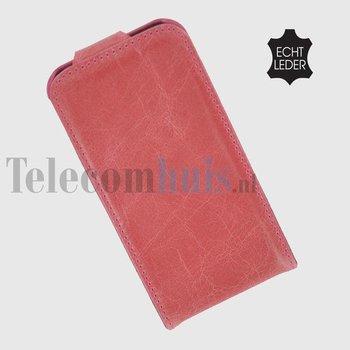 Apple iPhone 5 / 5S - Flip Case Cover Hoesje Echt Leder Roze