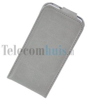 Apple iPhone 5 / 5S - Flip Case Cover Hoesje Echt Leder Stonegrey