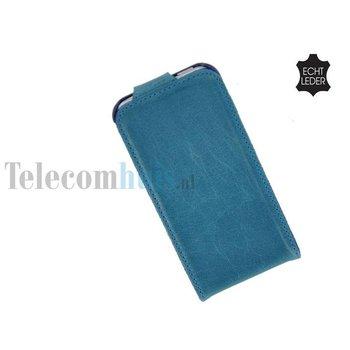 Apple iPhone 5 / 5S - Flip Case Cover Hoesje Echt Leder Turquoise