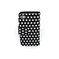Apple Iphone 4 /4 S Bookstyle Case Hoesje -Polkadot Zwart