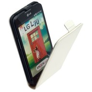 LG L70 D320N  -Leder  Flip case/cover hoesje - Wit