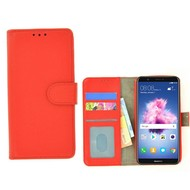 Rood Fashion Wallet Bookcase voor Huawei P smart