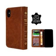 Pearlycase® Echt Leer Book Bookcase iPhone X - Antiek Bruin