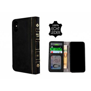 Pearlycase® Echt Leer Book Bookcase iPhone X - Antiek Zwart