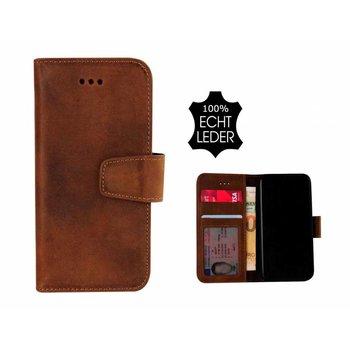 Pearlycase® Echt Leer Classic Bookcase iPhone X - Antiek Bruin