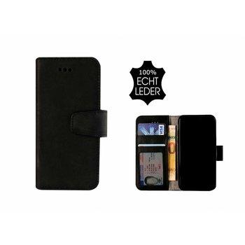 Pearlycase® Echt Leer Classic Bookcase iPhone X - Antiek Zwart