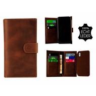 Pearlycase® Echt Leer Double Bookcase iPhone X - Antiek Bruin