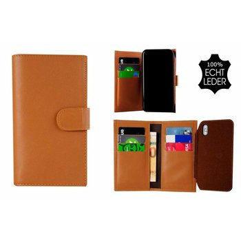 Pearlycase® Echt Leer Double Bookcase iPhone X -  Bruin