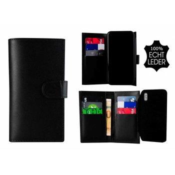 Pearlycase® Echt Leer Double Bookcase iPhone X -   Zwart