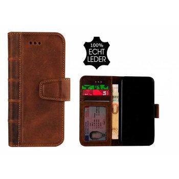 Pearlycase® Echt Leer Library Bookcase iPhone X - Antiek Bruin